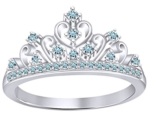 14k White Gold Crown - AFFY Round Cut Simulated Multi Stone Jasmine Princess Style Engagement Wedding Crown Ring in 14k White Gold Over Sterling Silver with Ring Size 7