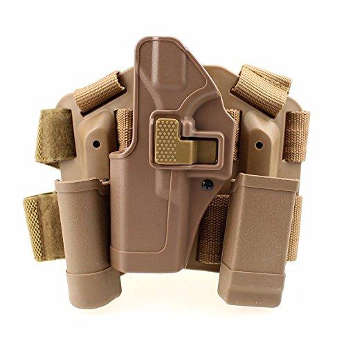 LIVIQILY Tactical Glock Leg Holster Left Hand Paddle Thigh Belt Drop Pistol Gun Holster w/Magazine Torch Pouch for Glock 17 19 22 23 31 (Tan-Left Hand)