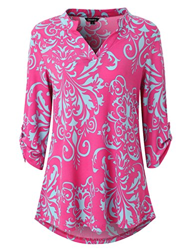 Dawiine Womens Casual Tunic Tops 3/4 Roll Sleeve Curved Hem Floral Print Tunic Blouse Shirts (Large, Pink Blue) (Shirt Top Blouse Pink)