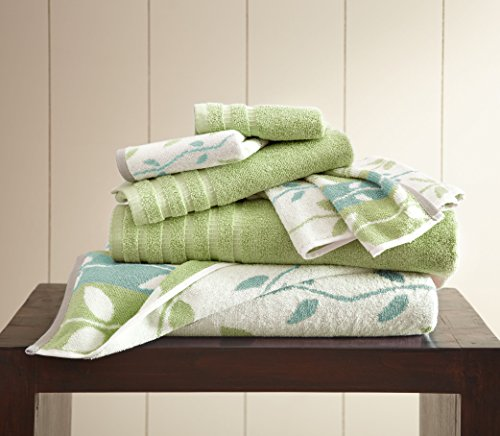 - Amrapur Overseas 6-Piece Yarn Dyed Organic Vines Jacquard/Solid Ultra Soft 500GSM 100% Combed Cotton Towel Set [Sage Green]
