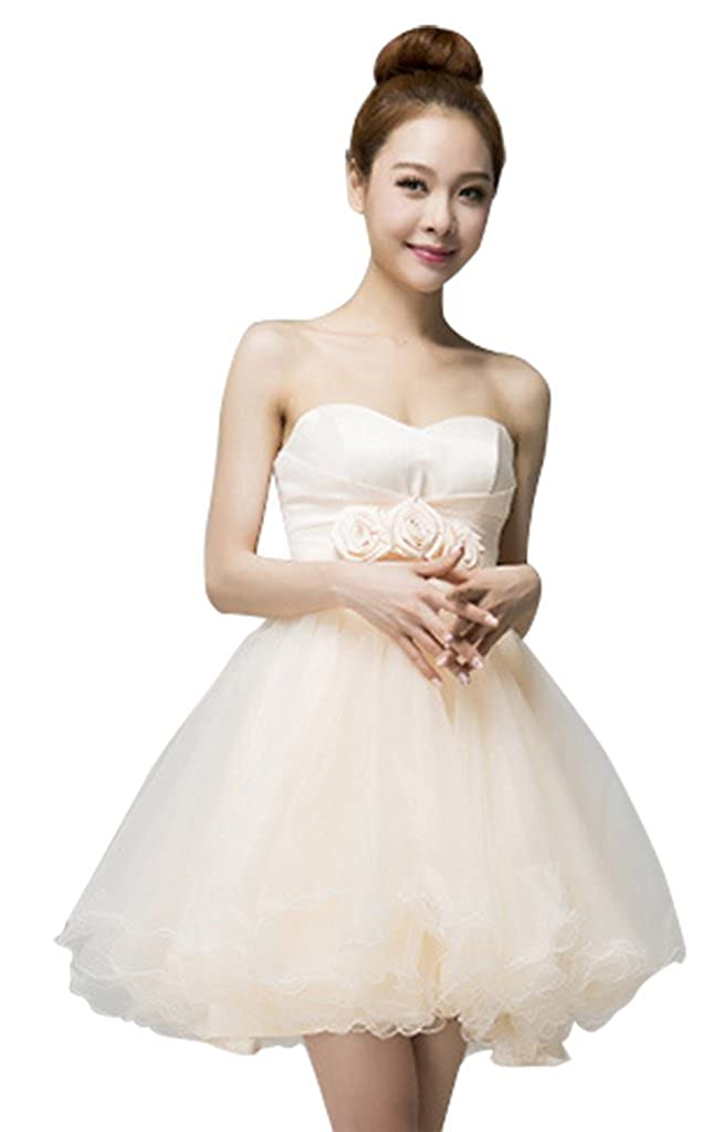 Drasawee Strapless Ball Gown Short Junior Homecoming Prom Dress Champagne UK14: Amazon.co.uk: Clothing