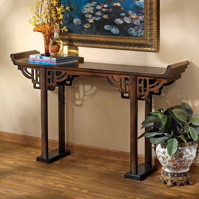 Design Toscano Forbidden City Asian Decor Console Table, 54 Inch, Hardwood, Walnut -