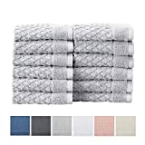 Great Bay Home - Toallas de baño 100% algodón Toallas de baño absorbentes de Secado rápido con Textura. Colección Grayson, Gris Claro, Washcloths (12-Pack), 12