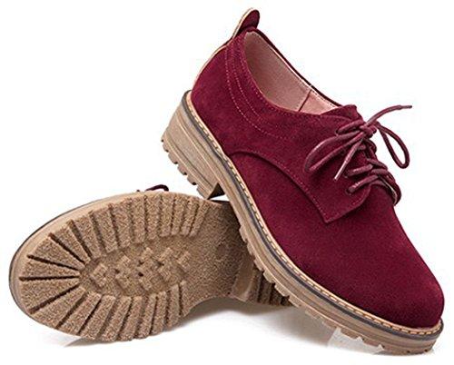 IDIFU Women's Classic Low Chunky Heel Platform Low Top Lace up Oxfords Shoes Wine Red 6 B(M) US by IDIFU (Image #1)