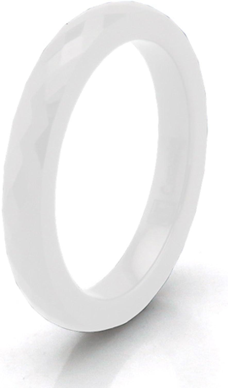 Tioneer C/éramique blanche 3mm Anneau multi facettes empilable