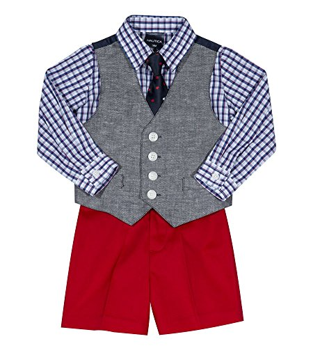 Nautica Baby Boys Set with Vest, Pant, Shirt, and Tie, Peacoat Denim, 12M