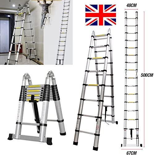 Escalera telescópica plegable de aluminio 2018 de 5 m, extensible, 16 peldaños, puede ser recta o escalera en forma de A: Amazon.es: Bricolaje y herramientas