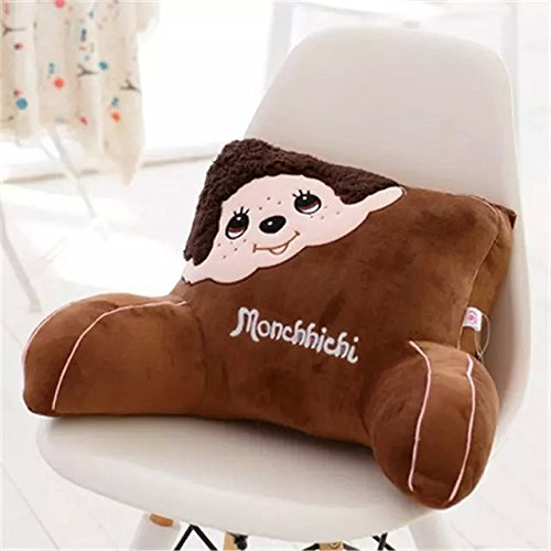 Cute Cartoon Animal Soft Plush Car Seat Waist Rest Cushion Lumbar Support Waist Pillow (Monchhichi Brown)