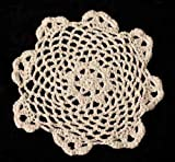 Package of 12 Hand Crocheted Round Ecru Doilies - 100% Cotton- 6'' Round Diam.