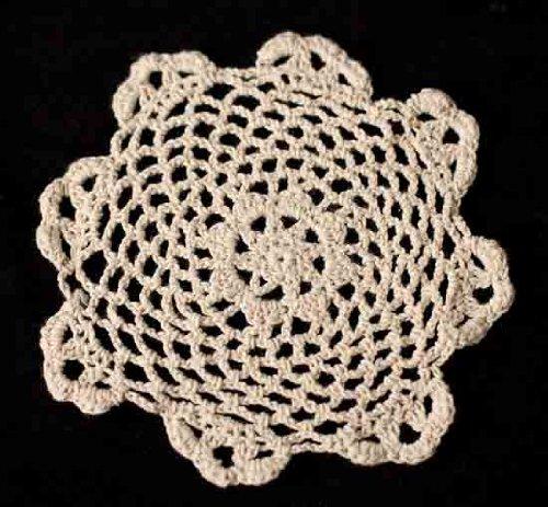 "Package of 12 Hand Crocheted Round Ecru Doilies - 100% Cotton- 6"" Round Diam."
