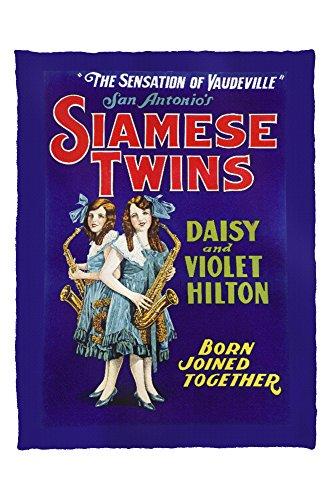 Lantern Press Siamese Twins - Daisy and Violet Hilton Vintage Poster USA 59809 (60x80 Poly Fleece Thick Plush Blanket)