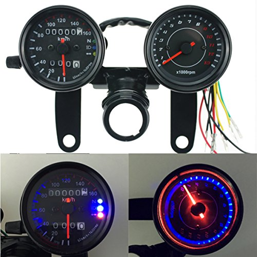 (Iztor Motorcycle black Odometer Speedometer and Tachometer with Bracket for Yamaha SR XV RX Cafe Racer Suzuki Honda Kawasaki)