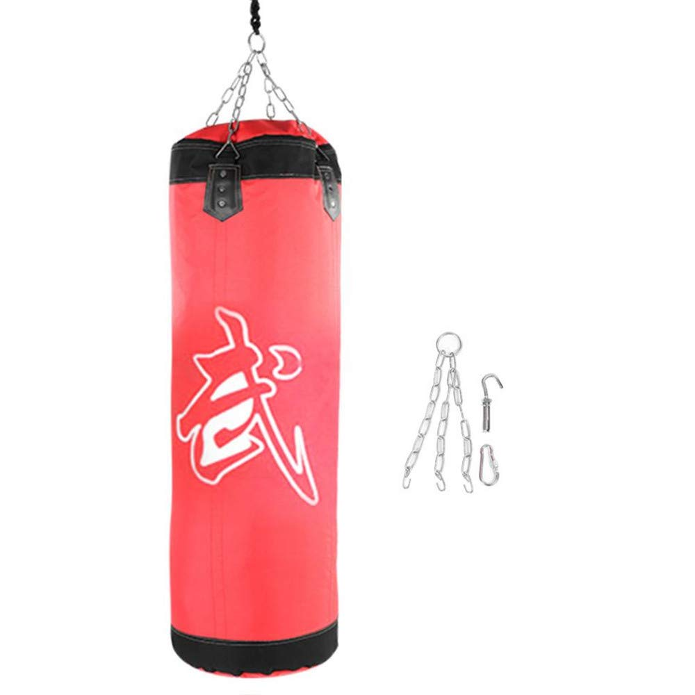 Kpffit Empty Boxing Sand Bag Hanging Kick Sandbag Boxing Training Fight Karate Punch Punching Sand Bag with Metal Chain Hook Carabiner (Red, 1.2M Type 1) by Kpffit