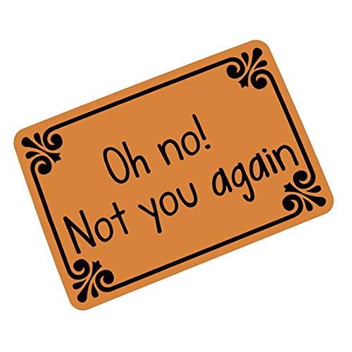 Pinji Funny Doormat Non-slip Rubber Entrance Mat Floor Mat Rug Indoor/Outdoor/Front Door/Bathroom Mats Personalized Oh No Not You Again 23.6(L) x 15.7(W)inch 05 (Oh No Not You Again)