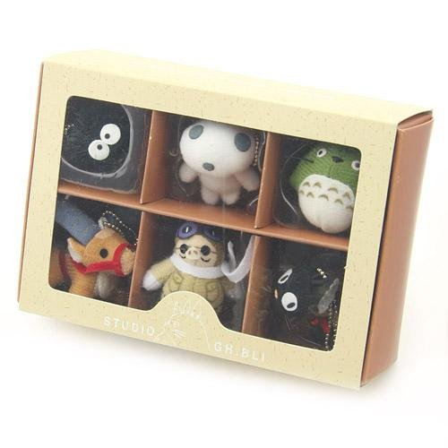 "Studio Ghibli Characters 1.5"" Tall Stuffed Doll with Keychain Set of 6 Styles"