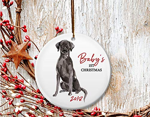 Lab Baby Christmas Ornament - New Dog mom Christmas ornament, Baby's 1st Christmas, Black Labrador puppy - Dated 2018