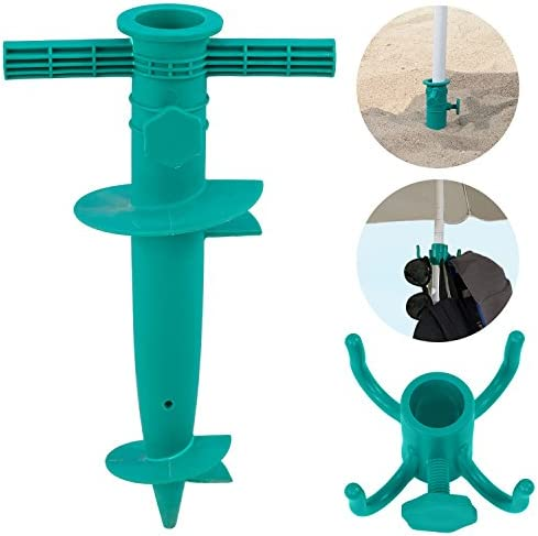 WEJOY 2-Piece Portable Plastic Beach Umbrella Sand Anchor and Beach Umbrella Hanging Hook Set, Fits for Most Poles