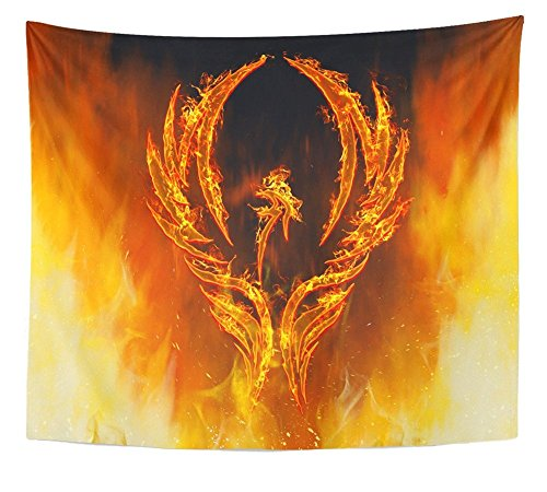 Emvency Tapestry Print Red Fire of Phoenix Bird in Flames with Wings Rising from Fiery Furnace Abstract Home Decor Wall Hanging for Living Room Bedroom Dorm 50x60 Inches
