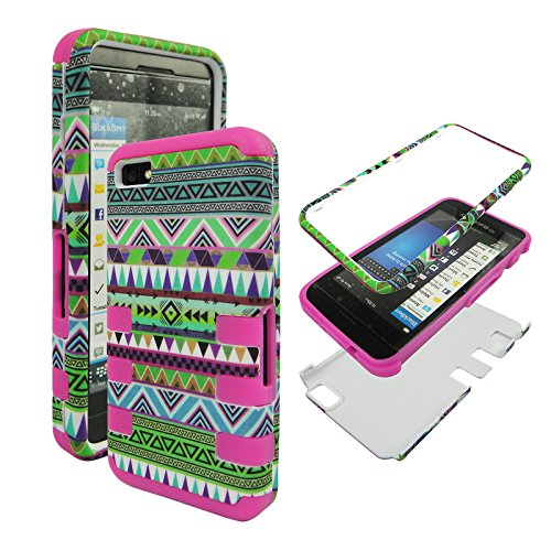 Hybrid Pink / Green Tribal Blackberry Z10, BB 10 Z 10 Tuff Dual Layer (Inside Soft Silicon + Outside Hard rubberized Feel) Phone Protector Snap on Cover (Green Blackberry Faceplates)