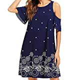 Boho Printed T-Shirt Dresses for Women Cold Shoulder Short Sleeve Summer Casual Loose Beach Shift Swing Sundress Sunmoot Note: - Please allow 1-2cm measuring deviation due to manual measurement. - Please check the Size Chart before order. If you a...