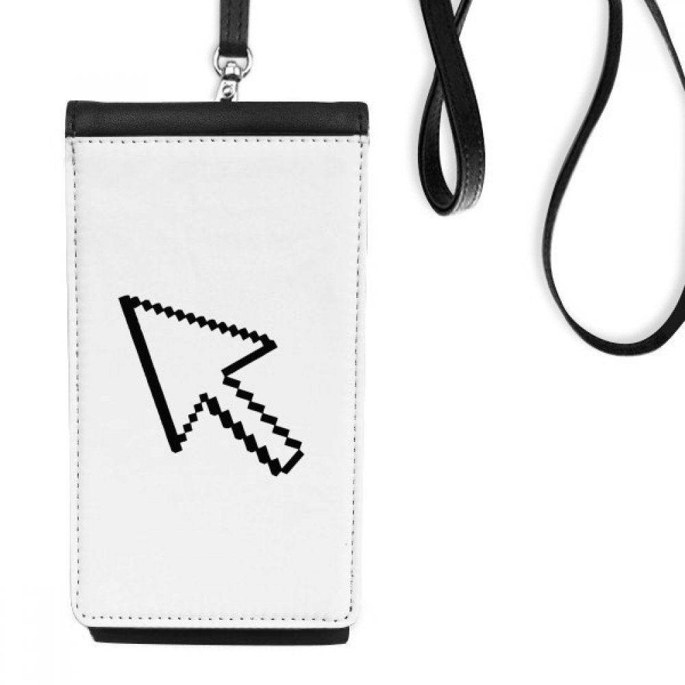 Computer Mouse Arrow Pixel Faux Leather Smartphone Hanging Purse Black Phone Wallet Gift