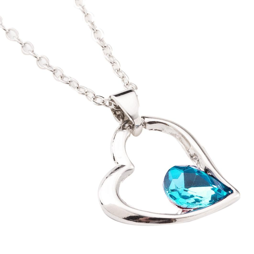 Beuu Valentine's Day Colorful Crystal Heart Necklace (E)