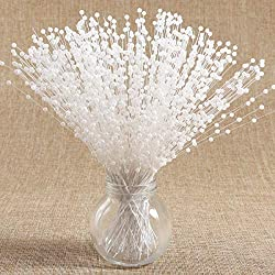 100 Stems Artificial Fake Pearl Spray Beads Wire Stems Wedding Bridal Flower Bouquet Party Table Decor (White)
