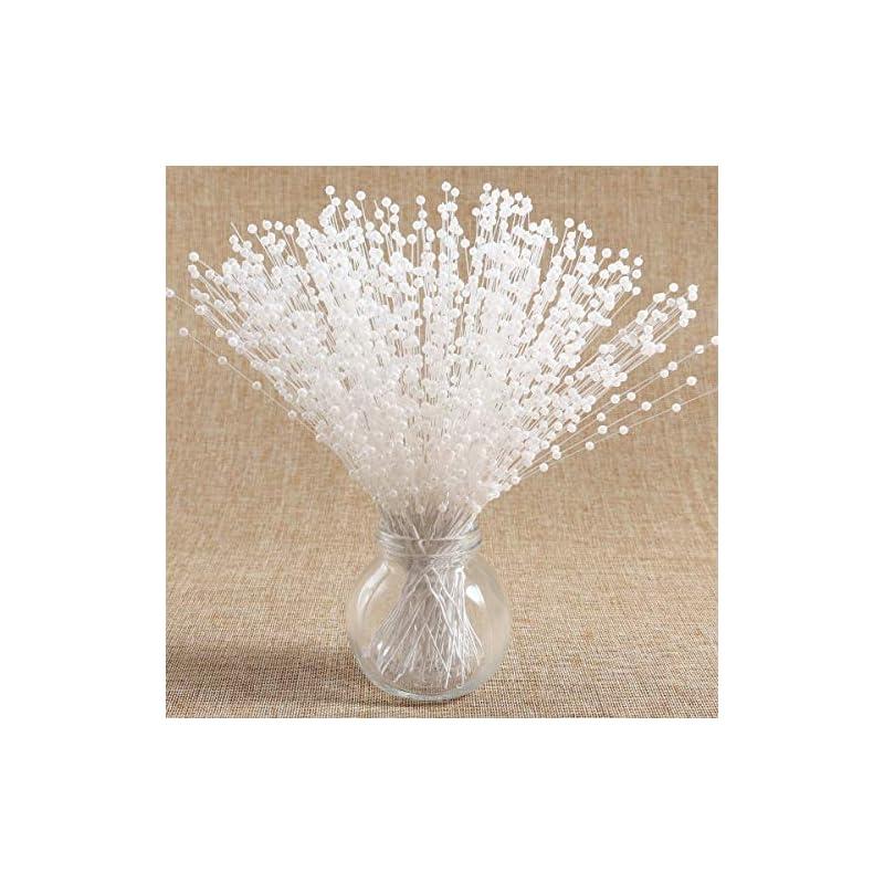 silk flower arrangements 100 stems artificial fake pearl spray beads wire stems wedding bridal flower bouquet party table decor (white)