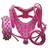 Benala Silver Spikes Studded Leather Dog Pet Collar Harness Leash 3Pcs Set Walking Medium Large Dogs Pitbull Boxer (Rose Red,L)