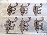 Cast Iron Swivel Coat Hooks | Antique/Vintage Stye - Great for Coats, Hats, etc. - Pack of 6