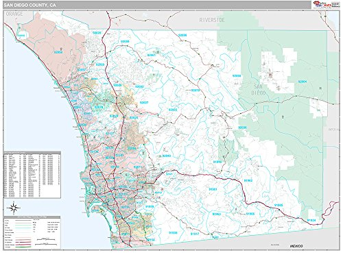 San Diego County, CA Wall Map (Premium Style, Wooden Rails, 48x64 inches) by Market Maps