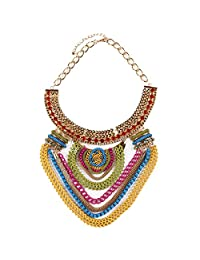 Qiyun Funky Ethnic Tribal Colorful Multiple Chain Bib Choker Statement Collar Necklace Ethnique Tribalful Multiples Collier
