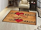 smallbeefly Home Sweet Home Bath Mat for tub Words with Heart Shapes on Wooden Planks Log Cabin Country House Door Mats for inside Bathroom Mat Non Slip Backing Pale Brown Red Black
