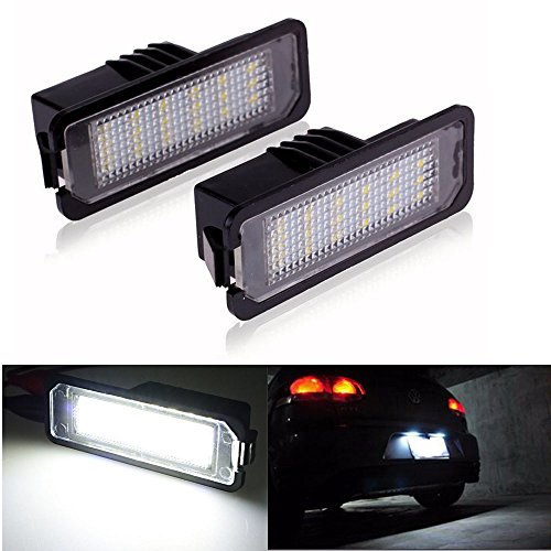 2pcs Car License Plate Light for Volkswagen VW Golf GTI CC Eos Scirocco Beetle Phaeton Rabbit Passat Error Free 3W 18 Led White Rear License Tag Lights Rear Number Plate Lamp Direct Replacement