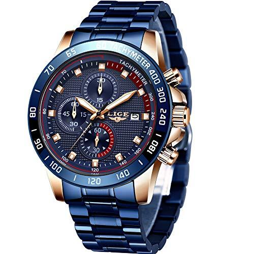 🥇 LIGE Reloj para Hombre Cronógrafo Correa de Acero Inoxidable Impermeable Deportivo Reloj Casual de Negocios