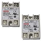 TinaWood 2PCS SSR-25DA Solid State Relay Module Light Gray 25A AC 3-32V 24-380V (SSR-25DA x2)