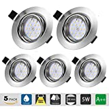 Downlights for Ceiling Gu10 Spotlights IP44, LED recessed Ceiling Light Modern 5 x 5W 220V 500LM 3000K CRI 83Ra 120°Beam Angle for Bathroom Living Room Bedroom Kitchen (LED Bulb Included)