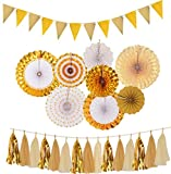 Diy Coffee Table Plans Gold Party Decorations| Gold Paper Fans Decorations| Sparkly Paper Pennant Banner Triangle Flags | Tissue Paper Tassels Garland| Gold Paper Fan Hanging for Baby Shower| Birthday Party Wedding