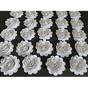 "Set of 24 White Paper Carnations, 1.5"" Roses, Small Flowers, Winter Wedding Decorations, Most Popular Bridal Shower Decor, Loose Floral Art 6"