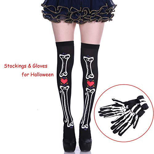 Women's Acrylic Skeleton Over The Knee Socks with Skull Long Glove Halloween Party Cosplay Set ()