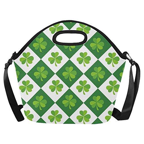 InterestPrint Large Insulated Lunch Tote Bag Luck shamrock Clover Tartan Large Reusable Neoprene Cooler 15.04
