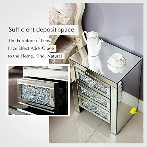 Mecor Mirrored End Table 3 Drawers Mirror Accent Side Table Silver Finished Nightstand for Living Room Bedroom Crystal Silver