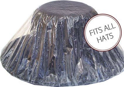Hat Protector, Clear Plastic with Elastic for a Perfect Fit, One Size Fits All.