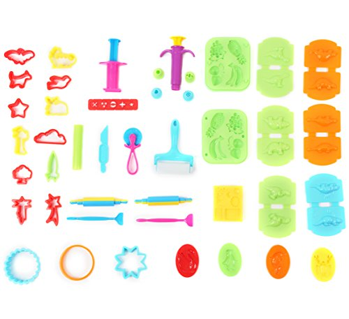 (Ludos 37 Piece Play Dough Tools Set- Including Playdough Playset Accessories, Dinosaur, Food & Animal Molds, Cookie Cutters, Rolling Pins. Tool Kit with Many Models. Mini Party Pack for Kids)