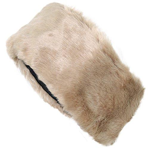FUNOC New Ladies Womens Luxury Faux Fur Headband Winter Ski Ear Muffs Earwarmers Hat (Khaki)