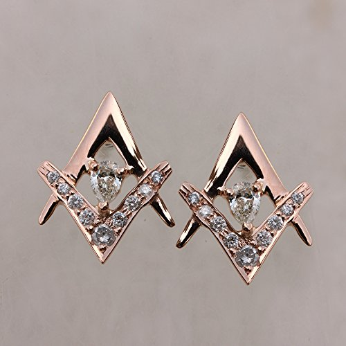 New Solitaire Earrings (18k Solid Rose Gold 0.26 Ct Diamond Solitaire NEW ARRIVALS Stud Earrings Jewelry)