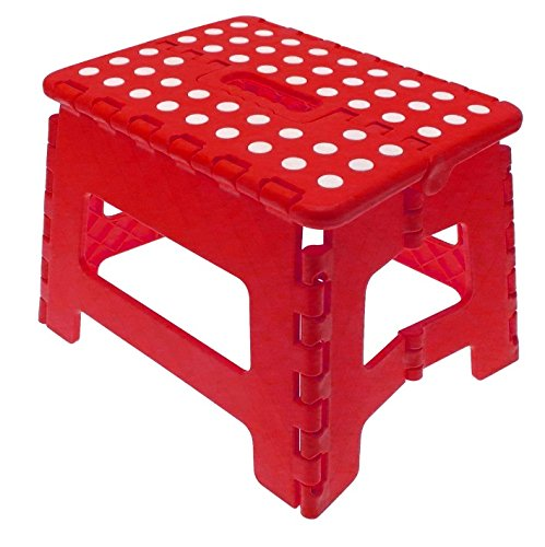 Folding Step Stool, Strong and Durable Storage Stool, Red and White Foldable Steps Clay Roberts