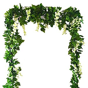Zpollo 4 Pcs Artificial Flowers 7.2ft Silk Wisteria Ivy Vine Green Leaf Hanging Vine Garland for Wedding Party Home Garden Wall Decoration (White) 44