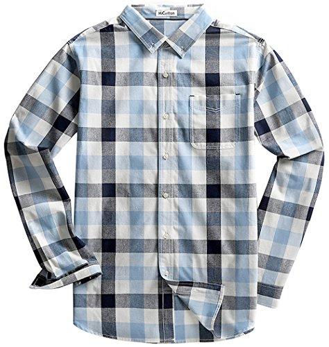Pocket Plaid Sport Shirt (MiCotton Men's Long Sleeve Button Down Cotton Plaid Casual Shirts,Muti Plaid,Medium)