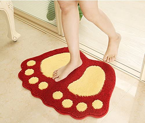 HUAHOO Big Feet Bath Toilet Mat Area Rugs Carpet Doormat Floor Mat Absorbent Mats Bathroom Rugs Bedroom Living Room Kitchen Foot Pad Rug 2-Pack 19 x26 , Red